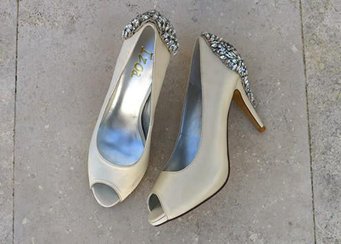 Peeptoe Pumps Ivory Crystal