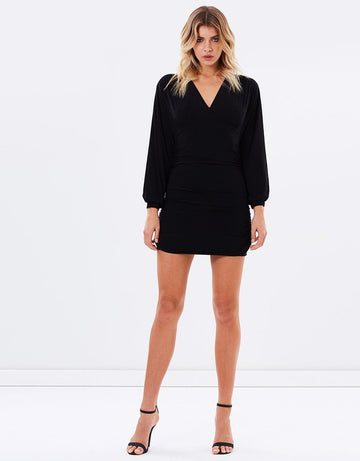 Black Long Sleeve Short Dress