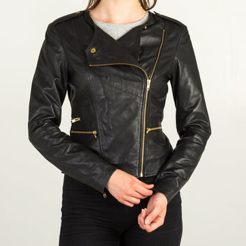 She'll Be Back Black Leather Jacket