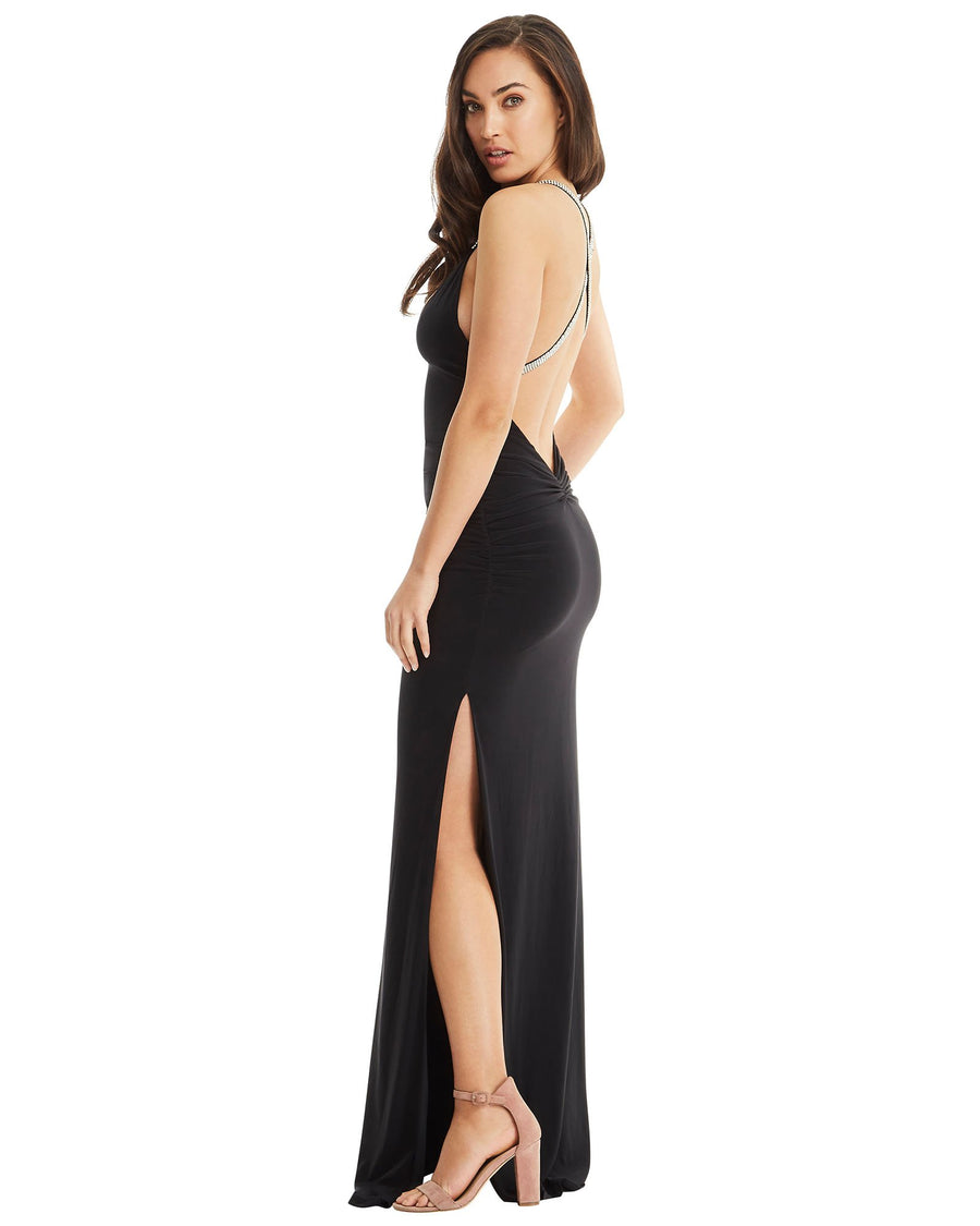 Cross Strap Evening Split Dress