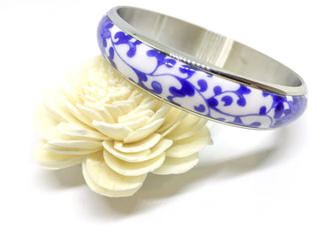 Teyze Porcelain Bangle Encased in Titanium Steel