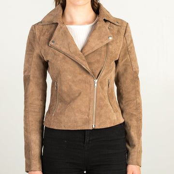 Suede Leather Khaki Jacket