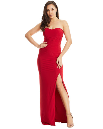 That Woman In Red Evening Split Dress