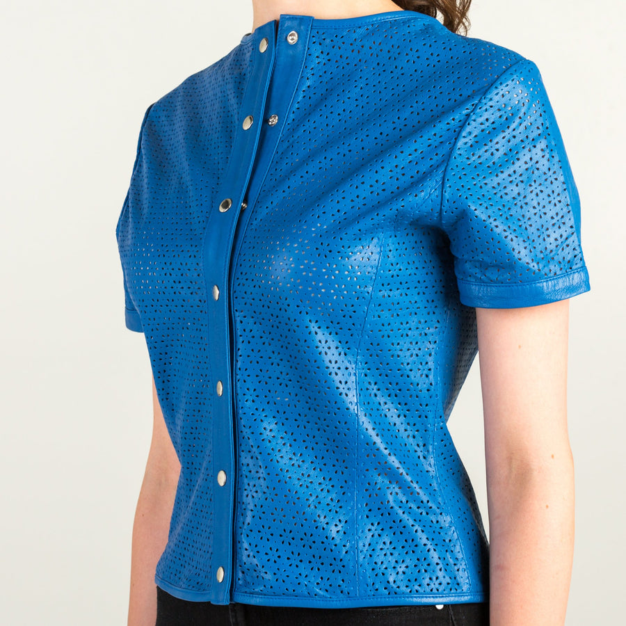 Blue Leather Short Sleeve Shirt