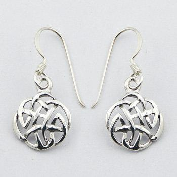 Round Celtic Knot Silver Earrings