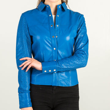 Blue Leather Jacket Style Shirt