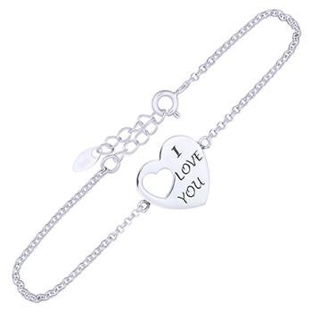 I Love You Silver Thin Bracelet