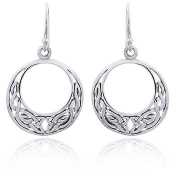 Celtic Crescent Silver Earrings
