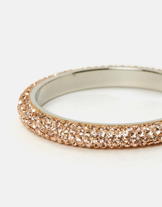 Five Row Crystal Bangle Peach