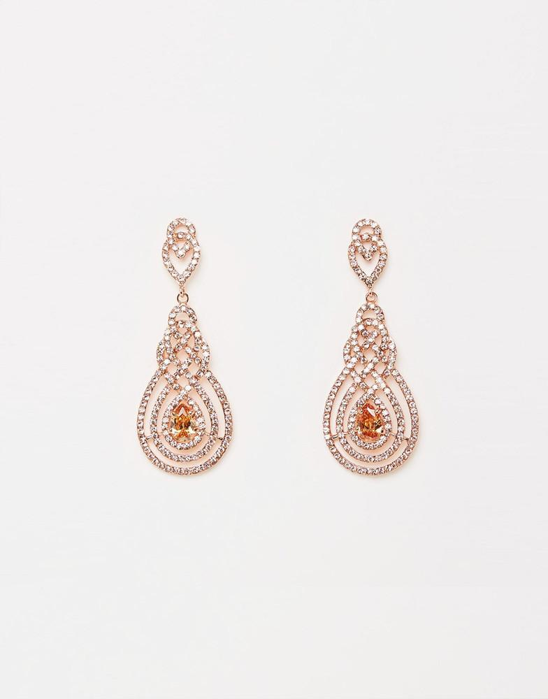 Her Peach Crystal Rose Gold Earrings