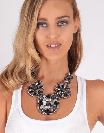 Crystal Beaded Statement Necklace