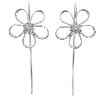 Open Petal Silver Flower Earrings