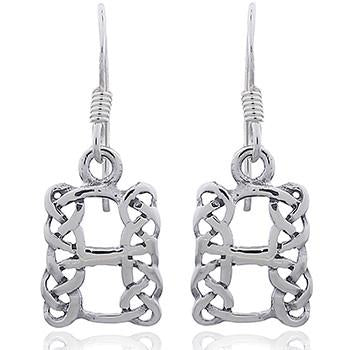 Celtic Knot Silver Rectangle Earrings