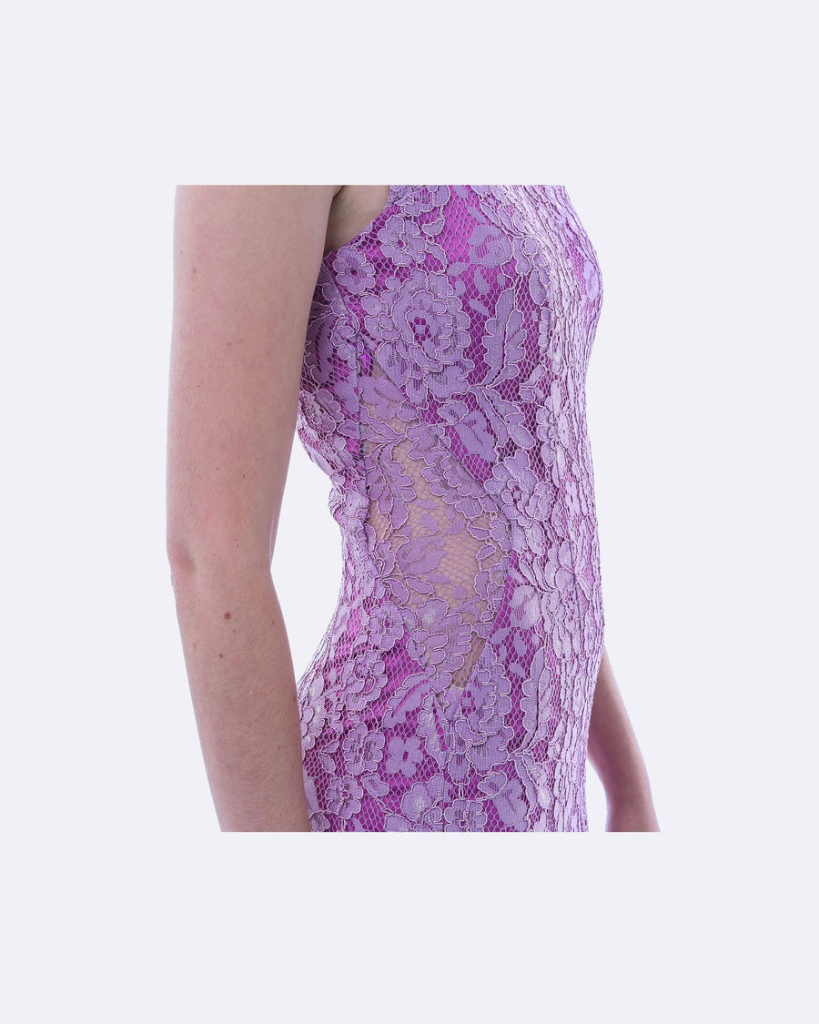 Lavender Formal Split Evening Dress