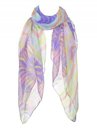Wave and Stripe Print Scarf
