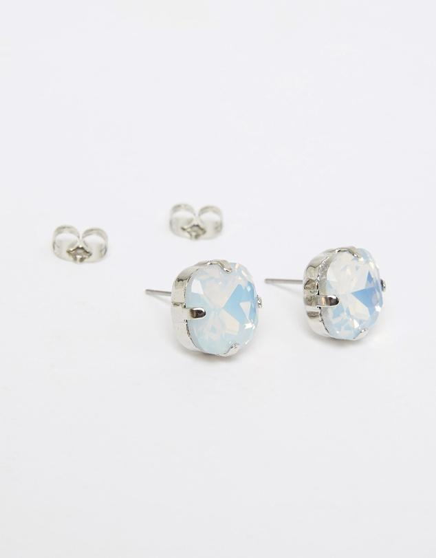 Emily Stud White Opal Silver  Earrings
