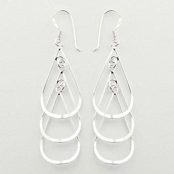 Silver Stacked Open Drops Earrings