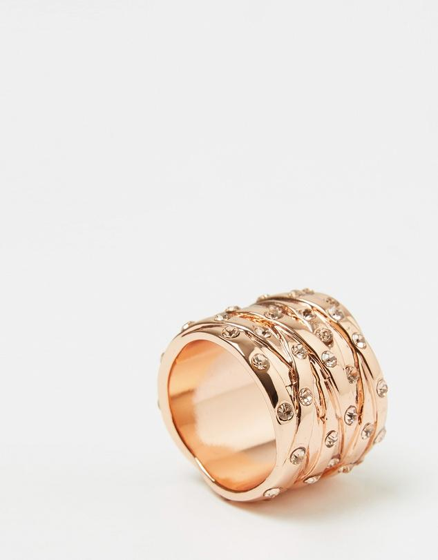Peachy Rose Gold Woven Crystal Ring