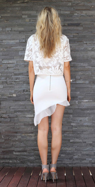 Asymmetrical Skirt White