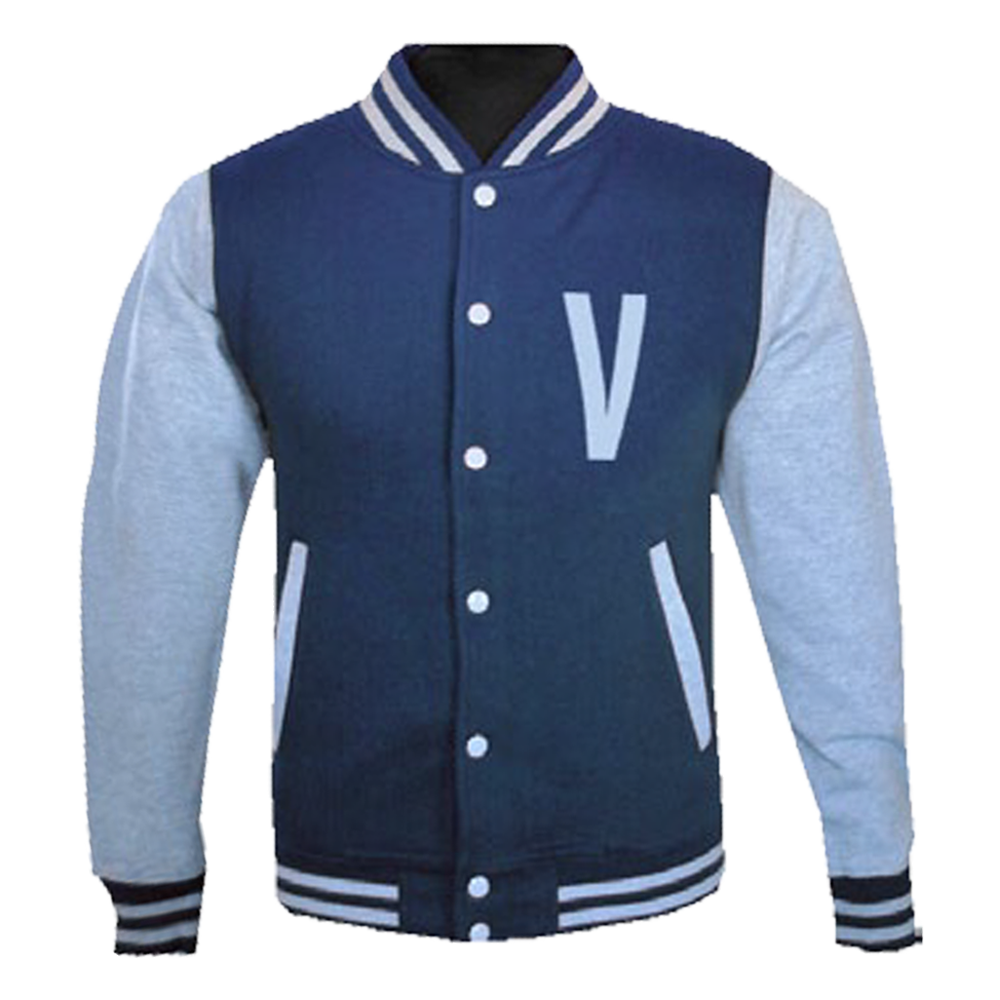 'V' Logo Navy/Heather Grey Varsity Jacket