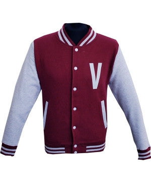 The Vaccines (V) Burgundy/Heather Grey Varsity Jacket
