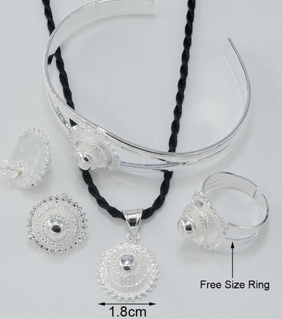 Classic Silver Color Ethiopian Jewelry Set - African Style Jewelry