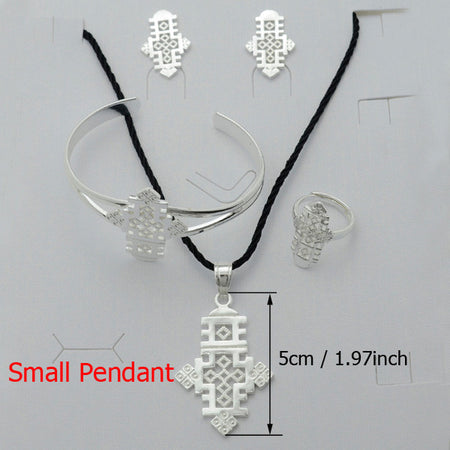 Ethiopian Silver Color Cross sets Jewelry - African Style Jewelry