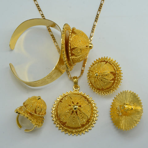Gold Color Ethiopian set Jewelry - African Style Jewelry