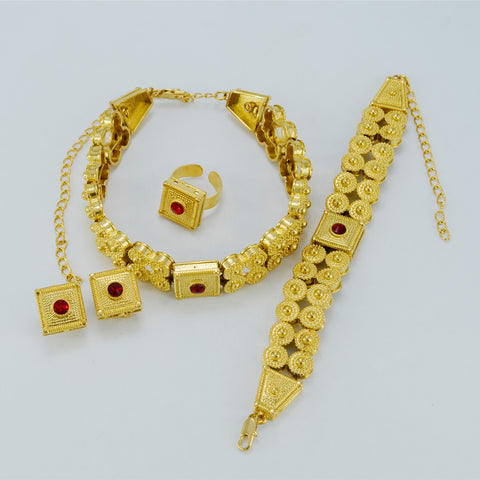 Gold Color Ethiopian Wedding Set Jewelry - African Style Jewelry