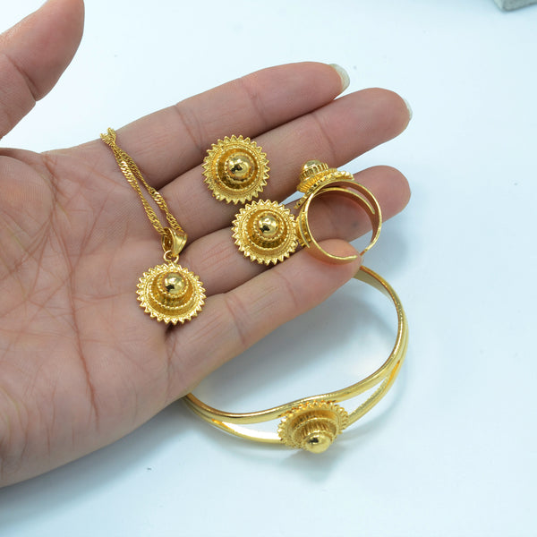 Gold Color Ethiopian Jewelry set - African Style Jewelry