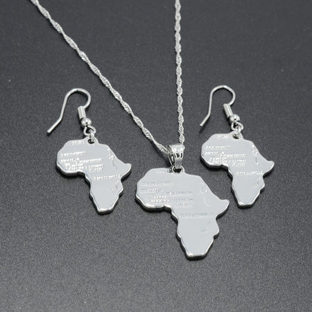 Africa Map Silver Necklace - African Style Jewelry