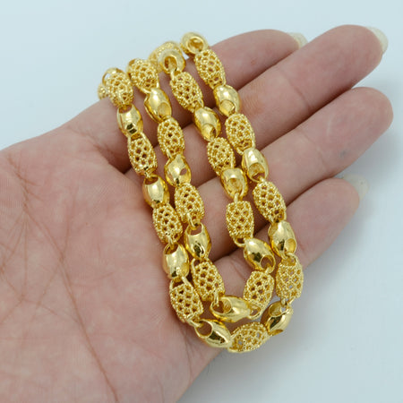 Gold Color Ethiopian Thick Necklace - African Style Jewelry