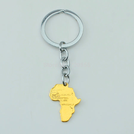 Africa Map Key Chain, Gold Color - African Style Jewelry