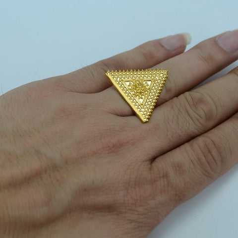 Ethiopian Triangle Gold Color Ring for Women - African Style Jewelry