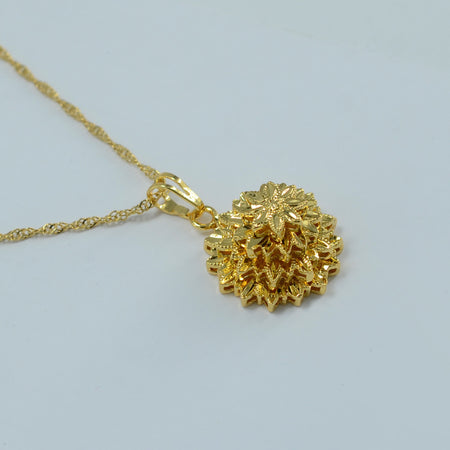 Ethiopian Necklace Pendant Gold Color Flower - African Style Jewelry