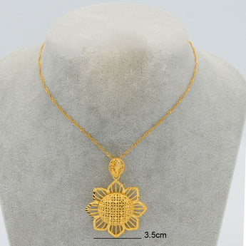 gold color flower necklace pendants - African Style Jewelry