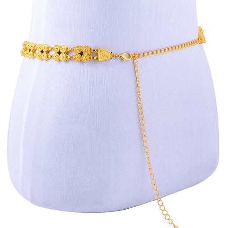 Gold Color Waist Belt Chain with Crystal Rhinestone - African Style Jewelry