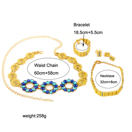 Ethiopian Yellow Gold Color Crystal Rhinestone Waist Chain - African Style Jewelry