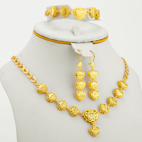 Small Heart Gold Color Ethiopian Jewelry Set - African Style Jewelry