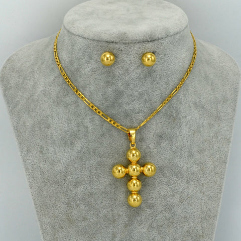 Ball Cross Pendant Chain Necklaces and Earrings - African Style Jewelry