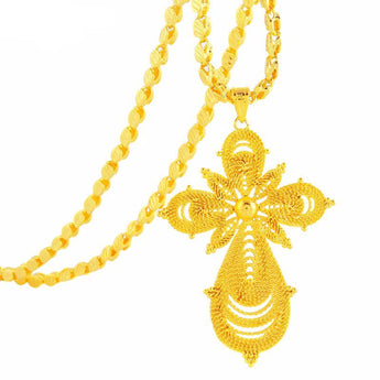 Ethiopian Gold Color Big Cross Pendant - African Style Jewelry