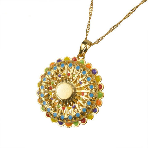 Ethiopian Multicolor Enamel Pendant and Necklaces for Women - African Style Jewelry