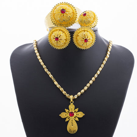 Red Stone Big Ethiopian Gold Color Jewelry Set - African Style Jewelry
