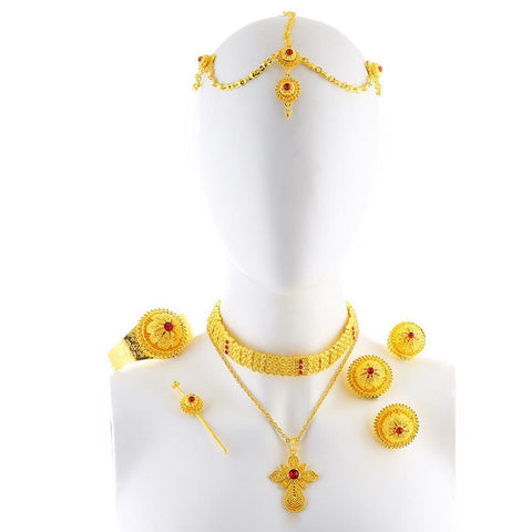 Luxury Ethiopian/Eritrean Rhinestone Cross Pendant Jewelry Sets - African Style Jewelry
