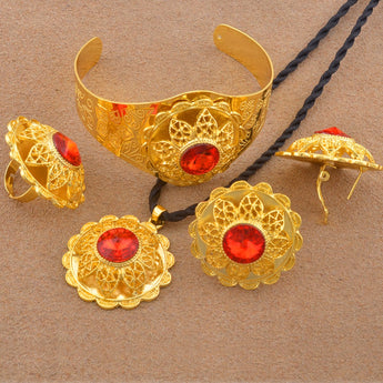 Ethiopian Gold Color Wedding Jewelry sets - African Style Jewelry