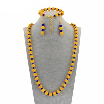 Gold Color Rosary Beads Jewelry Party sets - African Style Jewelry