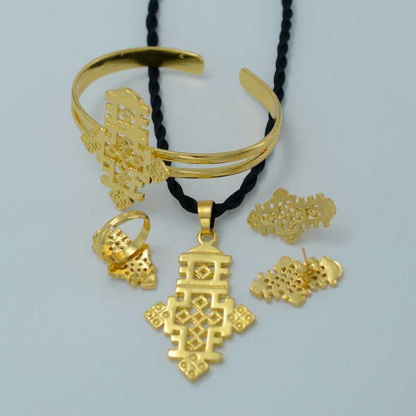 Ethiopian Gold Color Cross sets Jewelry - African Style Jewelry
