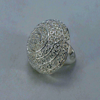 Bright Silver Color Ethiopian Ring - African Style Jewelry