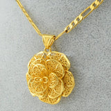 Flower Pendant Necklace Gold Color for Women and Girls - African Style Jewelry