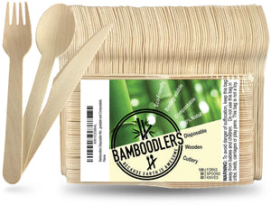 Bamboodlers Disposable Wooden Cutlery; Eco-Friendly and BPA-Free Alternative to Disposable Plastic Utensils. 100% All-Natural, Biodegradable, Compostable, and Renewable. Bamboodlers - because Earth is awesome!